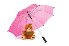 Teddy Beear Under Umbrella Royalty Free Stock Photography