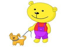 Teddy-beer gangen met een hond Stock Foto's