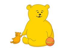 Teddy-beer met een bal en een stuk speelgoed Stock Foto