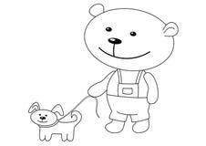 Teddy-beer met een hond, contouren Stock Afbeelding