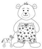Teddy-beer met een horsy stuk speelgoed, contouren Royalty-vrije Stock Afbeeldingen