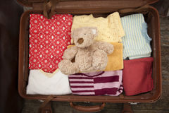 Teddy bera in open suitcase Royalty Free Stock Photo