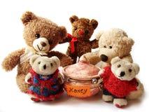 Teddy-beren & honing Stock Afbeeldingen