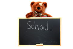Teddy and blackboard Royalty Free Stock Photo