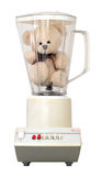 Teddy in Blender Isolated on White Background. Cute little teddy bear in an old-fashioned blender, isolated on a white background royalty free stock images