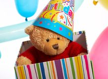 Teddy in a box Royalty Free Stock Images