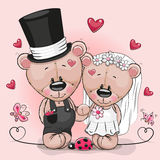 Teddy Bride en Teddy-bruidegom op een roze achtergrond vector illustratie