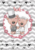 Teddy Bride and Teddy groom Royalty Free Stock Images