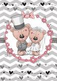 Teddy Bride and Teddy groom. Greeting card Teddy Bride and Teddy groom Royalty Free Stock Images