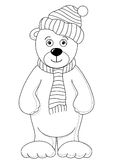 Teddy in cap and scarf, contours Royalty Free Stock Photos