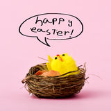 Teddy chick and text happy easter. A teddy chick in a nest emerged from a hitched egg and the text happy easter handwritten in a speech bubble, against a pink Stock Image