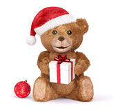 Teddy with a Christmas Stock Images