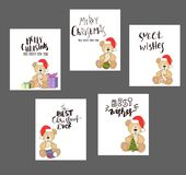 Teddy with christmas hat and gift box. Christmas Teddy Bear card set with handwritten letters vector Royalty Free Stock Photos