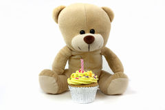 Teddy and cupcake wth 1 candle, royalty free stock image