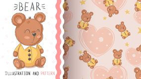 Teddy cute bear - seamless pattern stock illustration