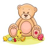 Teddy and easter chicken with eggs Stock Images