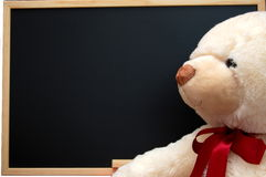 Teddy with empty blackboard Stock Images