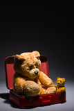 Teddy friends and suitcase Stock Photo