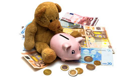 Teddy in geld Royalty-vrije Stock Fotografie