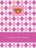 A teddy girl birthday arrival card Royalty Free Stock Photos