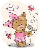 Teddy Girl und Vogel vektor abbildung