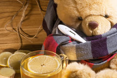 Teddy has a cold Stock Photography