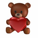 Teddy of Hearts. 3D rendering of a Teddy bear holding a Heart (Isolated on White Background Royalty Free Stock Photo