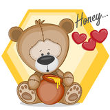 Teddy with honey Royalty Free Stock Image