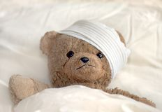 Teddy in hospital royalty free stock photos