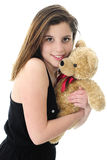 Teddy-Hugging Teen Royalty Free Stock Photo