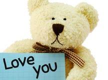 Teddy I houdt van u Stock Afbeeldingen