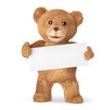 Teddy met lege kaart Stock Afbeeldingen
