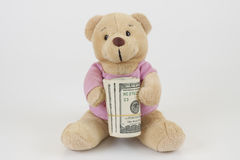 Teddy and money Royalty Free Stock Photography