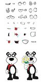 Teddy panda bear cartoon emotions set flowers Stock Images