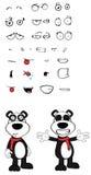 Teddy panda bear cartoon emotions set hug Stock Photos
