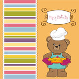 Teddy with pie. birthday greeting card Stock Images