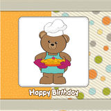 Teddy with pie. birthday greeting card Royalty Free Stock Photography