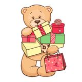 Teddy with presents Royalty Free Stock Photography