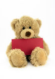 Teddy with red card. Cute fluffy teddy holding a blank red card Royalty Free Stock Image