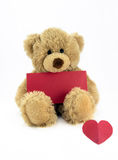 Teddy with red card. Cute fluffy teddy holding a blank red card and heart Stock Photos