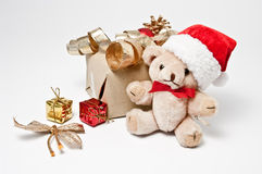 Teddy with santa hat Royalty Free Stock Photos