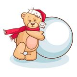 Teddy and snowball Royalty Free Stock Photography