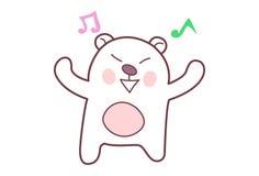 Teddy Sticker mignon avec des notes de musique Images libres de droits