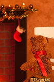 Teddy Waits For Santa Royalty Free Stock Photography