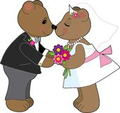 Teddy Wedding. A pair of teddy bears getting married Royalty Free Stock Image