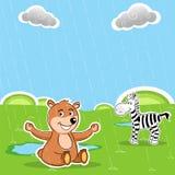 Teddy and zebra Stock Photo
