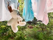 Teddybär betreffen die Wäscheleine Stockbild