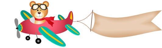 Teddybär betreffen Flugzeug mit Fahne vektor abbildung