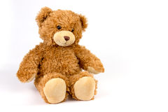 Teddybär betreffen weißen Hintergrund Stockfoto