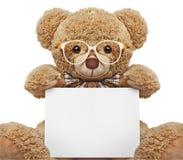 Teddybär in den Gläsern mit leerer Fahne stockfotos